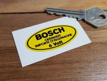 "Bosch Germany 6 Volt Oval Yellow Sticker. 2""."