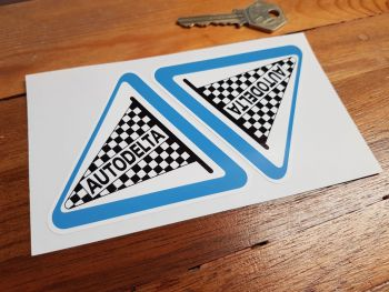 "Autodelta Performance Parts Blue Style Stickers. 3"", 4"", or 4.25"" Pair."