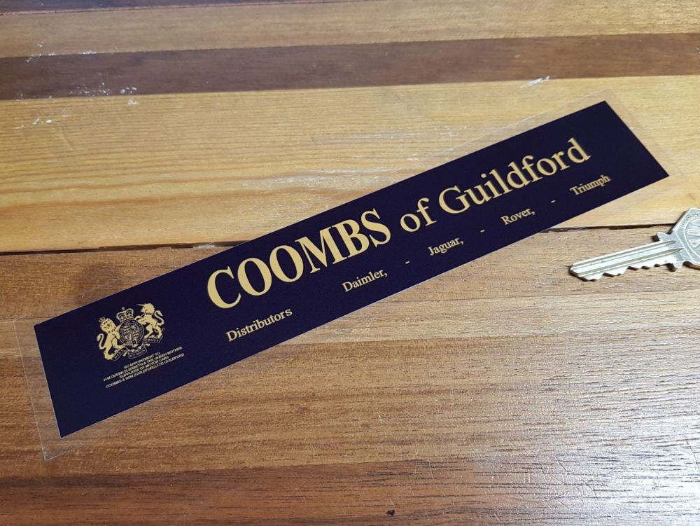 "Coombs of Guildford Daimler Jaguar Rover Triumph Distributors Sticker. 9""."
