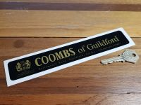 """Coombs of Guildford Portsmouth Road Black & Gold Sticker. 8""""."""