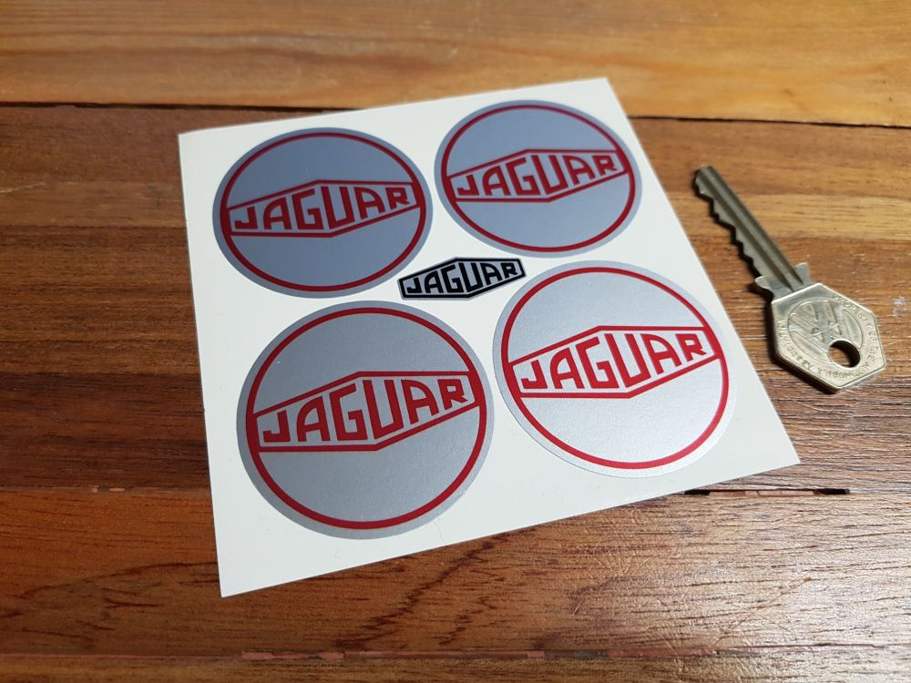 Jaguar Wheel Centre Stickers. Lozenge. White or Silver. Set of 4. 50mm.