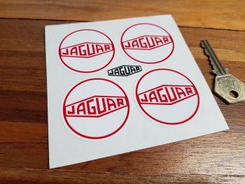 Jaguar Wheel Centre Stickers. Lozenge. Red & White. Set of 4. 50mm.