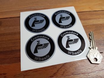 Cromodora Wheels Round Stickers. Black & Silver. Set of 4. Various Sizes.
