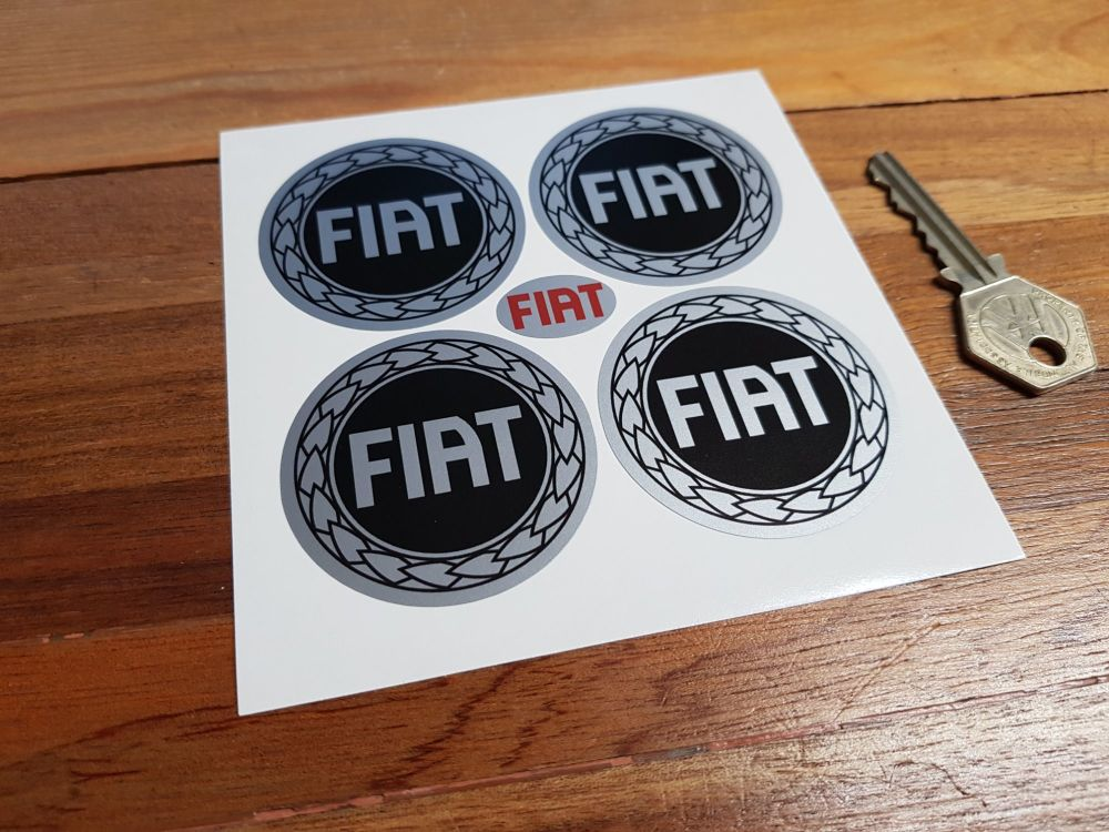 Fiat Garland Wheel Centre Stickers. Set of 4. 50mm.
