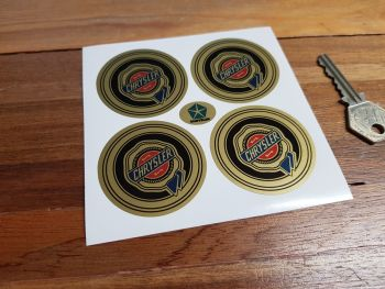 Chrysler Wheel Centre Style Stickers. Colour on Gold. Set of 4. Various Sizes.