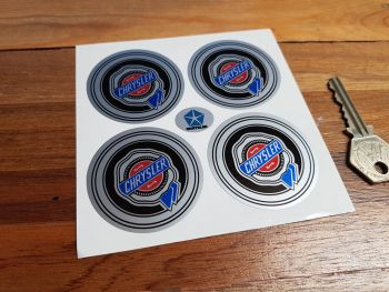 Chrysler Wheel Centre Style Stickers. Colour on Silver. Set of 4. 50mm, 54mm or 70mm.
