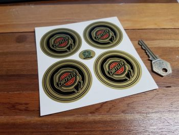 Chrysler Wheel Centre Style Stickers. Black, Red, & Gold. Set of 4. 60mm.