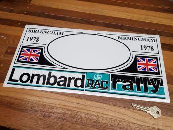 "RAC Lombard Rally Birmingham 1978 Plate Sticker. 15""."