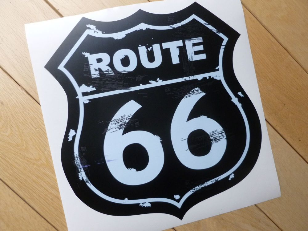 "Route 66 Distressed Vintage Style Black and White Shield Sticker. 10""."