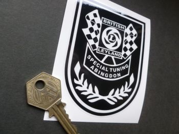 """British Leyland Special Tuning Black & Clear Negative Style Shield Stickers. 3.75"""""""