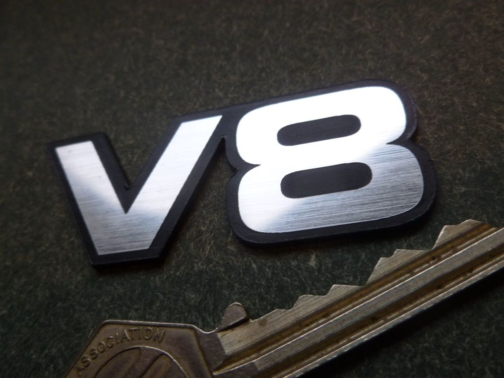 V8 Powered Laser Cut Self Adhesive Car Badge. 62mm