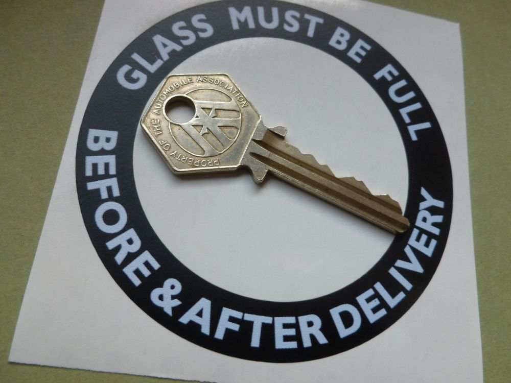 Glass Must Be Full Before & After Delivery White on Black Circular Style Petrol Pump Sticker.  86mm