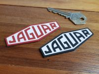 "Jaguar Lozenge Logo Laser Cut Self Adhesive Car Badge. Black/Red & White. 2"", 3"" or 4""."