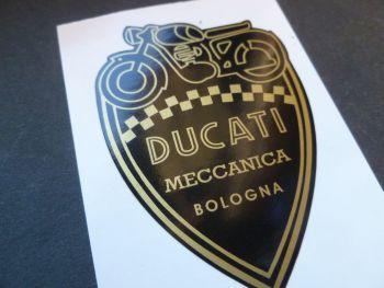Ducati Meccanica Bologna Black & Gold Shield Style Sticker. 70mm
