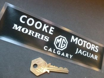 "Cooke Motors Calgary. Morris, MG, Jaguar Dealers WINDOW Sticker. 8""."