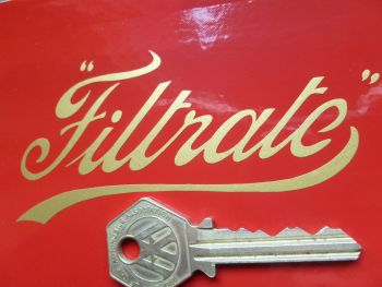 "Filtrate Old Thin Style Script Cut Vinyl Sticker. 4"", 6"", or 9"""