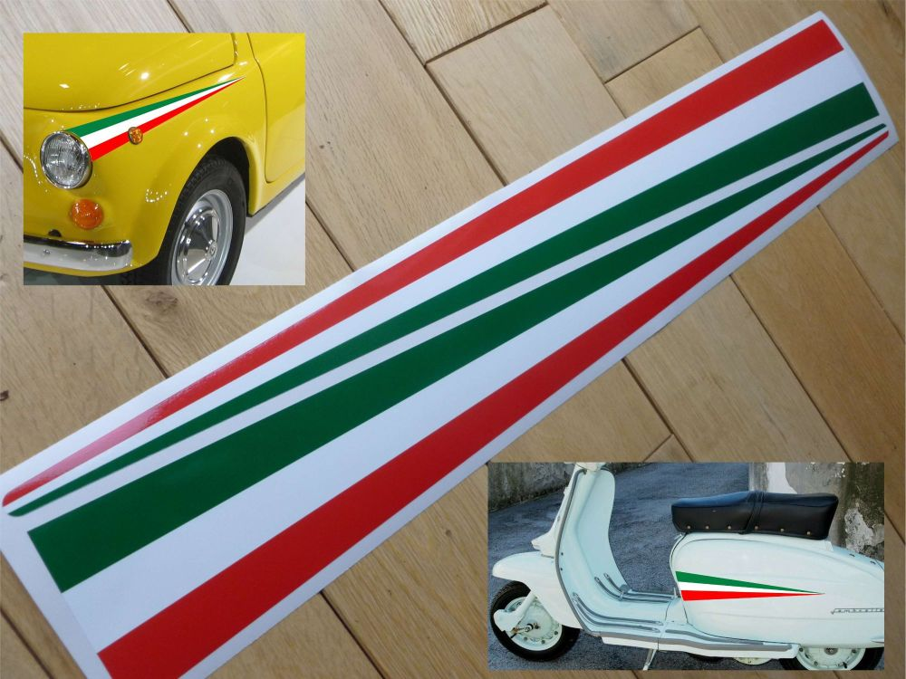 Italia Tricolore Wing Spear Type Stickers 530mm Pair