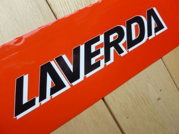 "Laverda Cut & Shaped White Shadow Later Style Text Stickers. 8"" Pair."