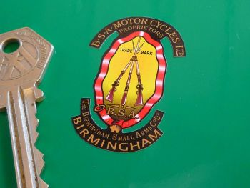 """BSA Piled Arms Stickers. Shaded Style Detail Cut on White. 2"""" Pair."""