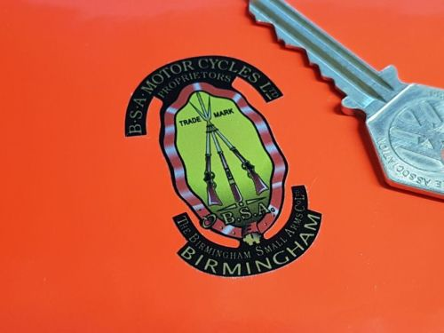 BSA Piled Arms Stickers. Shaded Style Detail Cut on Silver. For Dark Backgr