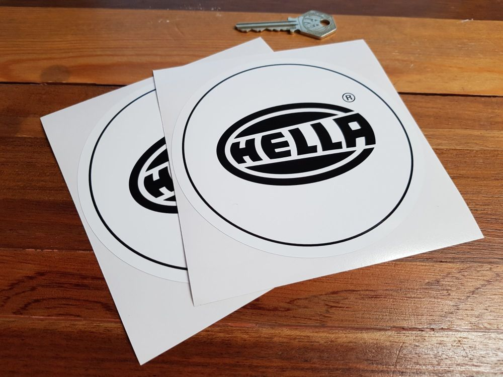 "Hella Black & White Circular Small Logo Stickers. 5"" Pair."