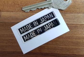 Made in Japan Black & Foil Motorcycle Stickers. 52mm Pair.