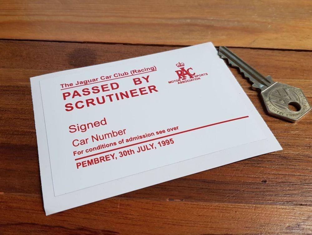 "Jaguar Car Club Racing Pembrey Circuit 1995 Passed by Scrutineer Sticker. 4"""