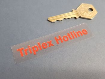 Triplex Hotline Red & Clear Window Sticker. 89mm.