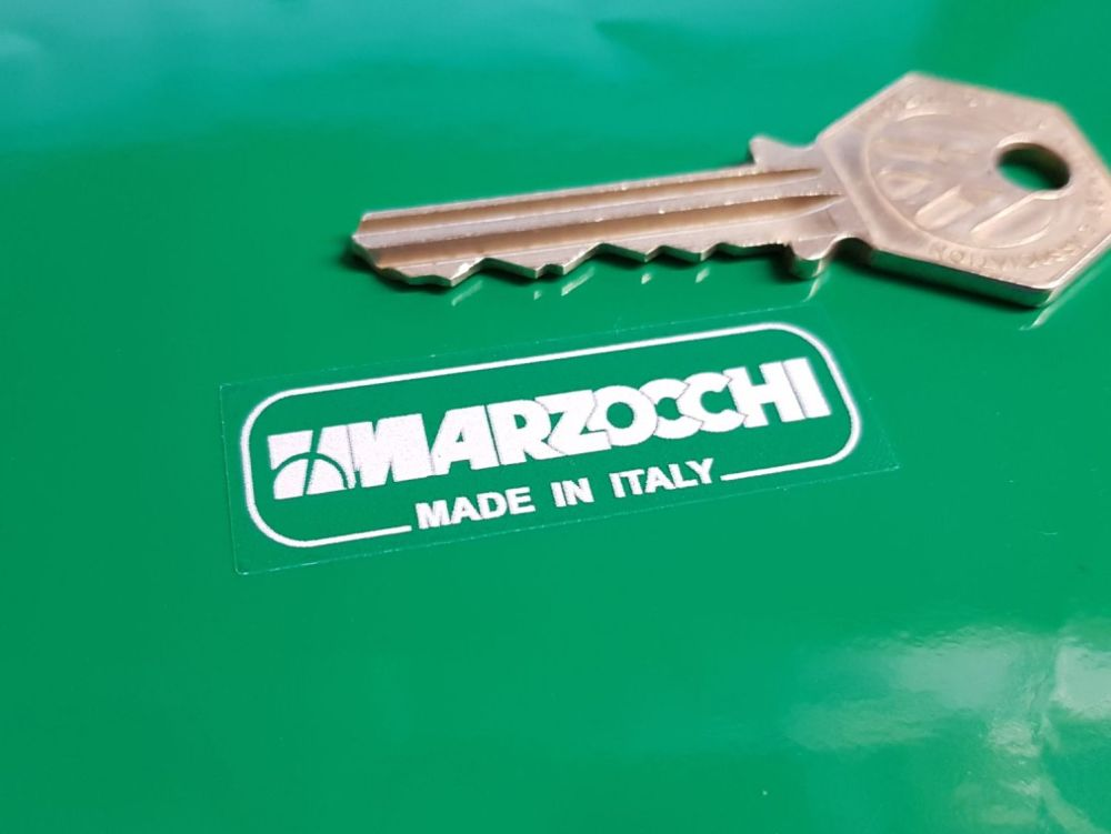 Marzocchi Made in Italy White & Clear Fork Stickers. 46mm Pair.