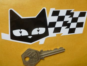 "SEV Marchal Le Mans 24 Hour Cat & Chequered Flag White Eyed Stickers. 5"" Pair."