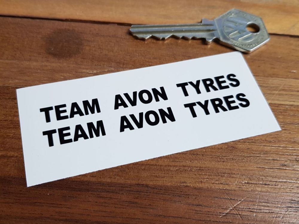 "Team Avon Tyres Cut Vinyl Stickers. 3.25"" Pair."