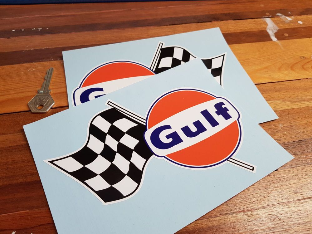 """Gulf Logo & Chequered Flag Style 2 Taller Handed Stickers. 7.5"""" Pair."""