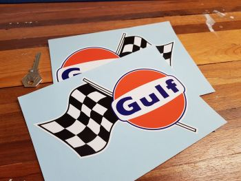 "Gulf Logo & Chequered Flag Style 2 Taller Handed Stickers. 7.5"" Pair."