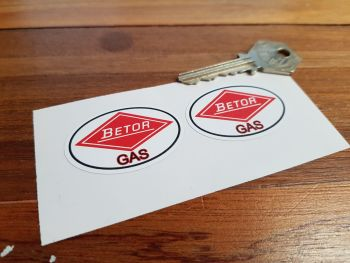 "Betor Gas Oval Logo White Style Stickers. 1.75"" Pair."
