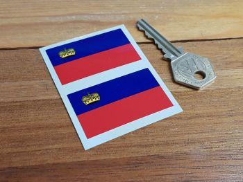 "Liechtenstein Oblong Flag Stickers. 2"" Pair."