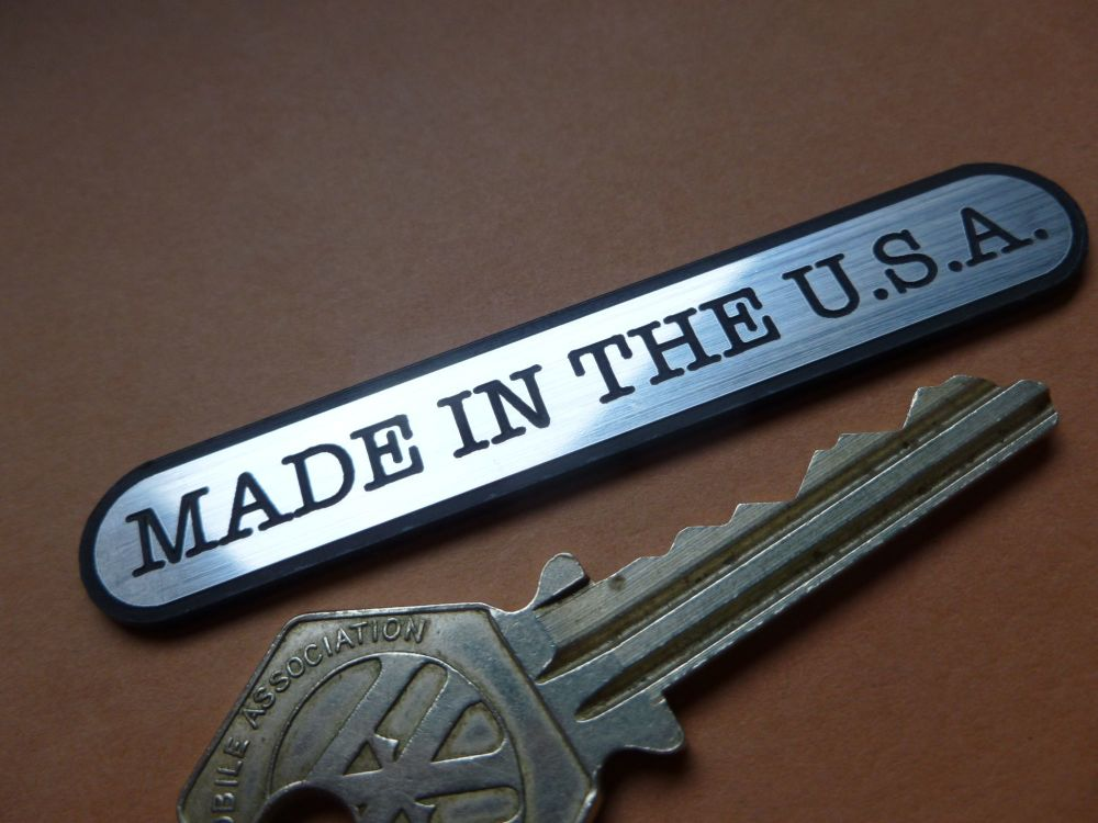 "Made in the USA Ovoid Style Laser Cut Self Adhesive Car or Bike Badge. 1.75"" or 3""."