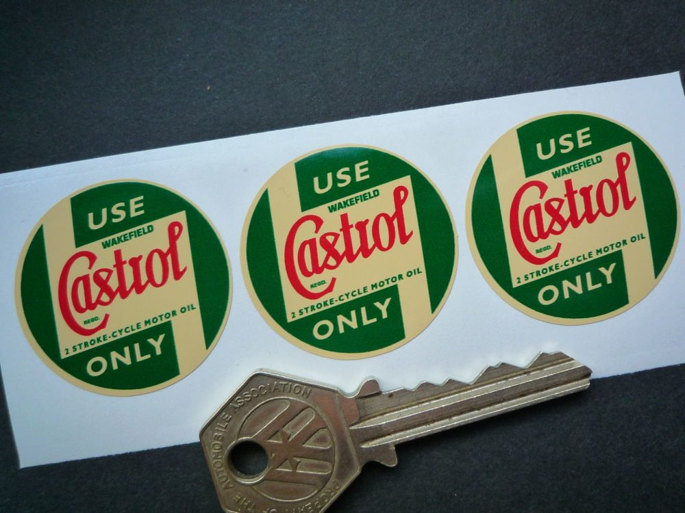 Castrol Wakefield Pre'58 2 Stroke-Cycle Motor Oil Cream Stickers. 35mm. Set of 3.