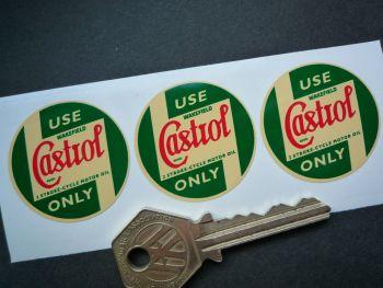 Castrol Wakefield Pre'58 2 Stroke-Cycle Motor Oil Cream Stickers. 35mm. Set of 3.