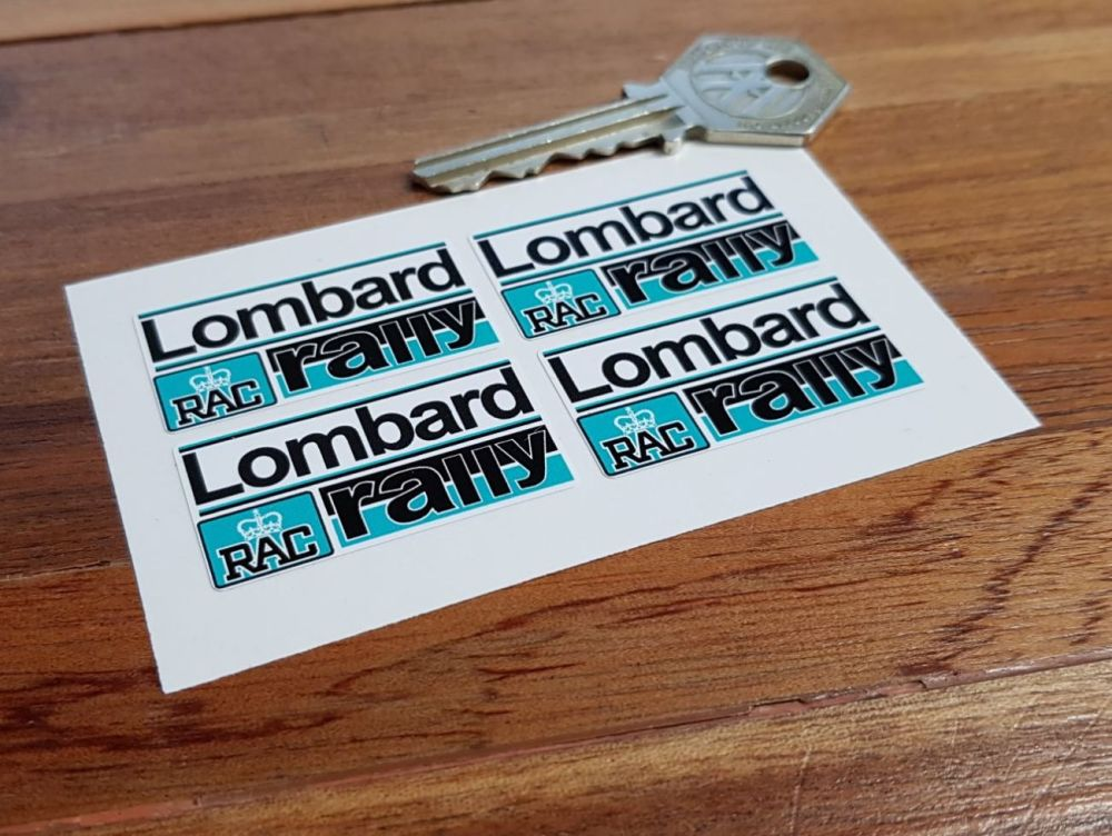 Lombard RAC Rally Turquoise Blue Stickers. 40mm. Set of 4.