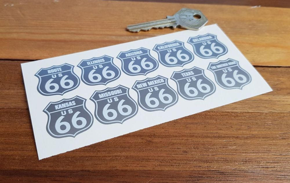 "Route 66 Full State Set Silver & White Stickers. 1"". Set of 10."
