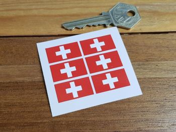 Switzerland Swiss Flag Small Coloured Stickers. Set of 6. 25mm.