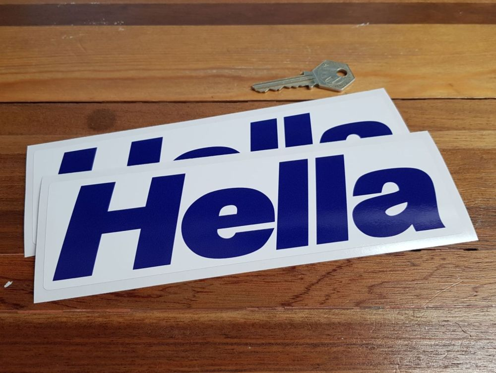 Hella Blue & White Oblong Stickers. 8