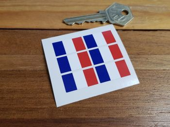 France French Flag Small Coloured Stickers. Set of 6. 25mm.