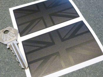 "Union Jack Stickers Matt Black & Textured Black Subtle Finish 3"" Pair"