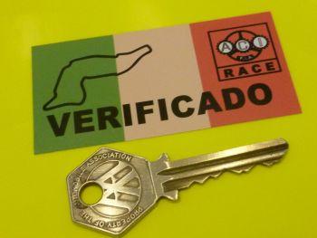 "Imola Old Style Tricolore Verificado Scrutineer Passed Racing Sticker. 3""."