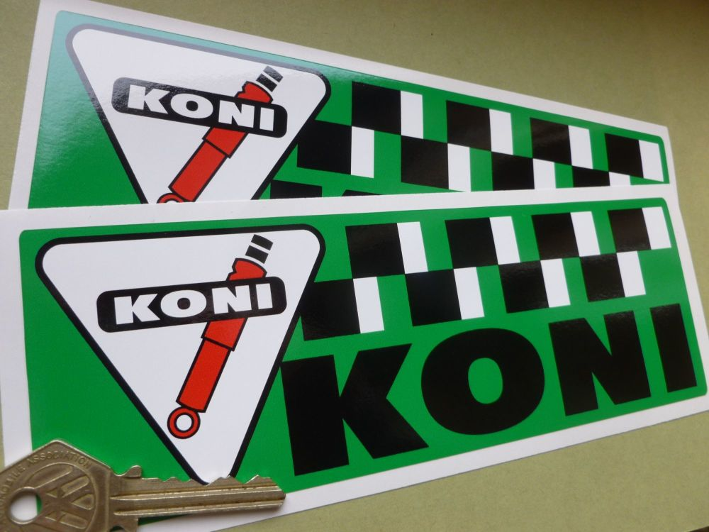 """Koni Green Chequered Oblong Stickers. 8"""" Pair."""