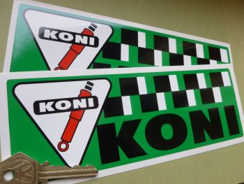 "Koni Green Chequered Oblong Stickers. 8"" Pair."