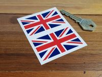 "Union Jack Stickers. 1.75"", 2.5"", 3"", or 5"" Pair."
