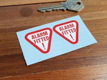 Alarm Fitted Red Text Warning Stickers. 34mm or 45mm Pair.