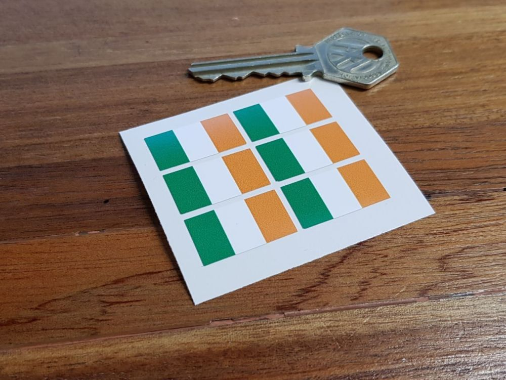 Ireland Irish Flag Small Coloured Stickers. Set of 6. 25mm.